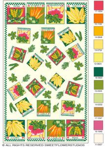 Miami Herb garden rug textile illustration