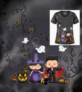Miami Halloween medical scrubs textile design illustration