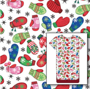 Miami Christmas medical scrubs textile design illustration